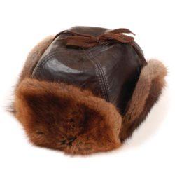 chapeau-fourrure-rat-musque-cuir